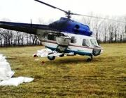 Вертолет для подкормки озимого рапса и озимой пшеницы